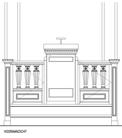 tekening preekstoel vooraanzicht