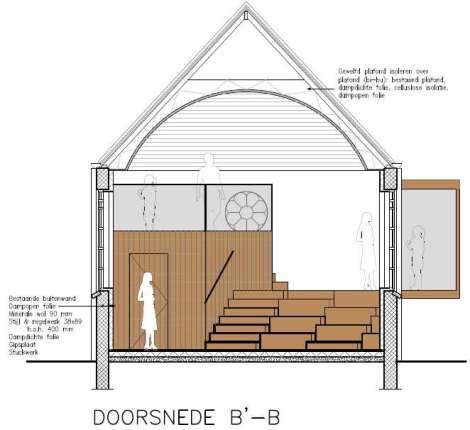 Een erker en trap/tribune in interieur? tekening: Marielle Veldthuis
