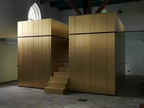 Gouden toiletblok in Leegkerk. Foto: Harold Koopman
